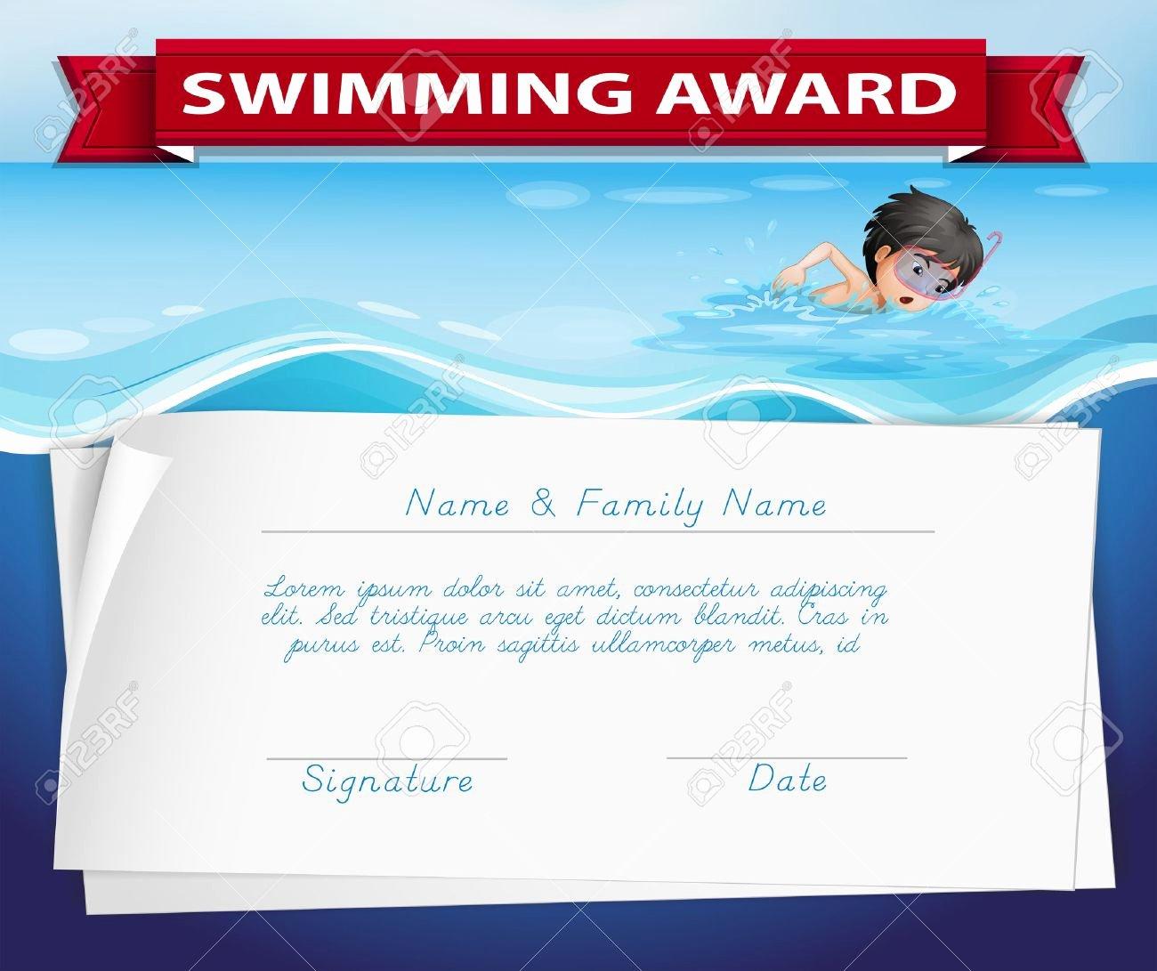 Swimming Certificate Template Free Fresh Swimming Certificate Template Free