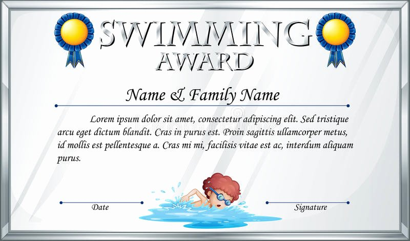 Swimming Certificate Template Free Inspirational Certificate Template for Swimming Award Stock Vector
