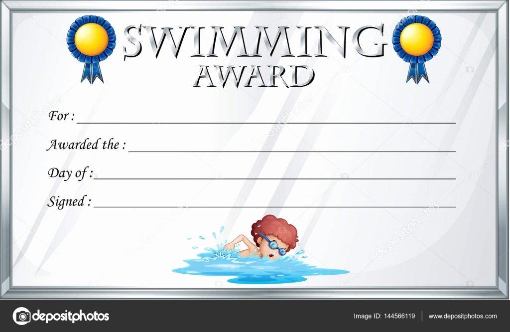 stock illustration certificate template for swimming award