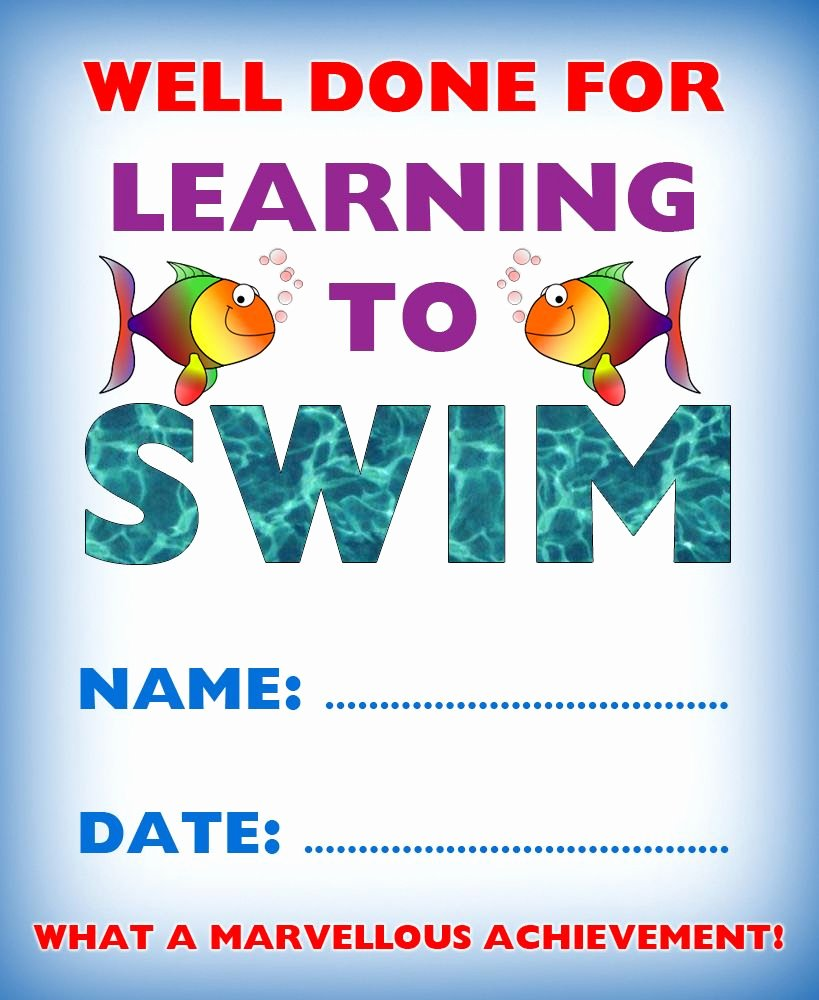 Swimming Certificate Template Free New Kids Certificate for Learning to Swim Swim