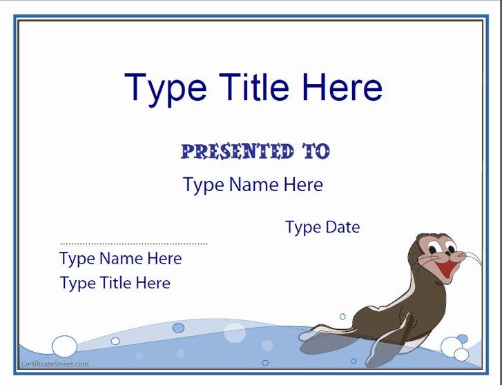 Swimming Certificate Template Free Unique Blank Certificates Swimming Certificate Template