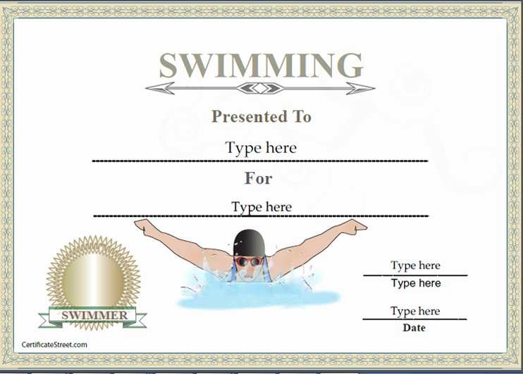Swimming Certificate Template Free Unique Sports Certificates Certificate Of Achievement In