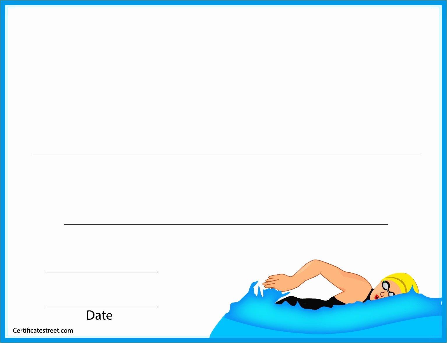Swimming Certificate Template Free Unique Swim Lesson Certificates Basic Blank Swimming Certificate
