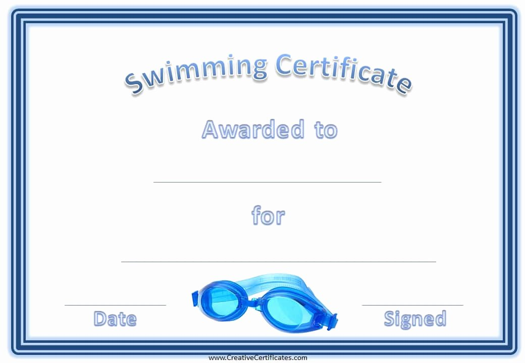 Swimming Lesson Certificate Template Elegant Free Swimming Certificates