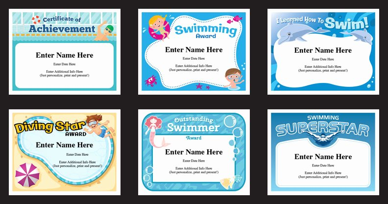 Swimming Lesson Certificate Template Lovely Swim Certificates Swimming Award Templates