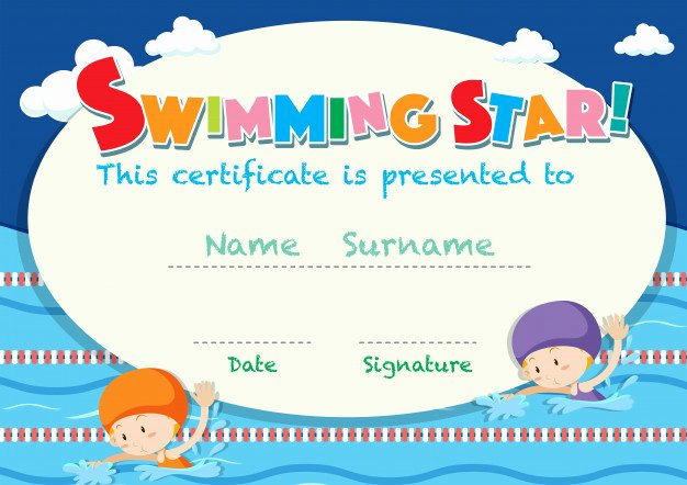 Swimming Lesson Certificate Template Luxury Certificate Template with Kids Swimming Vector