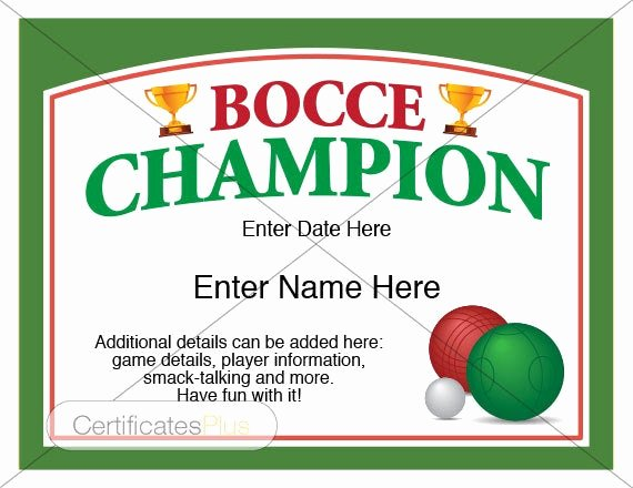 T Ball Certificate Templates Best Of Bocce Certificate Bocce Champion Award Bocce Award Template