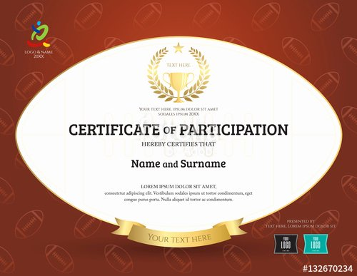 "T Ball Certificate Templates Luxury ""certificate Of Participation Template In Sport theme with"