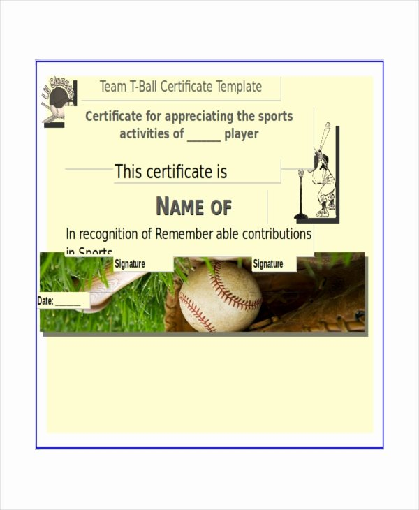 T Ball Certificate Templates Luxury T Ball Certificate Template 5 Word Pdf Ai Indesign