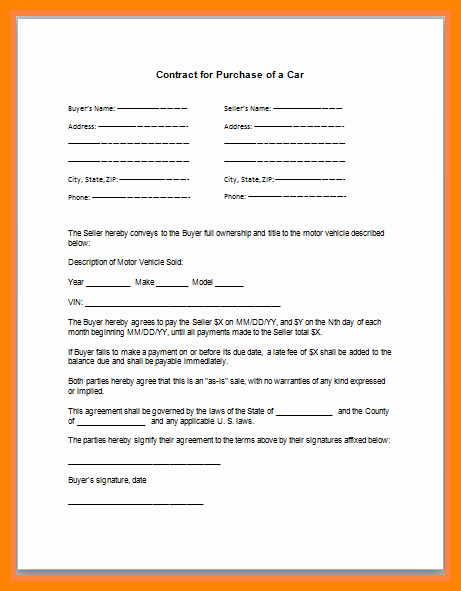 Taking Over Payments On A Car Sample Contract Unique 9 Take Over Car Payment Contract Template