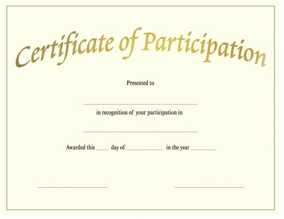 Talent Show Participation Certificate Awesome Certificate Participation Template
