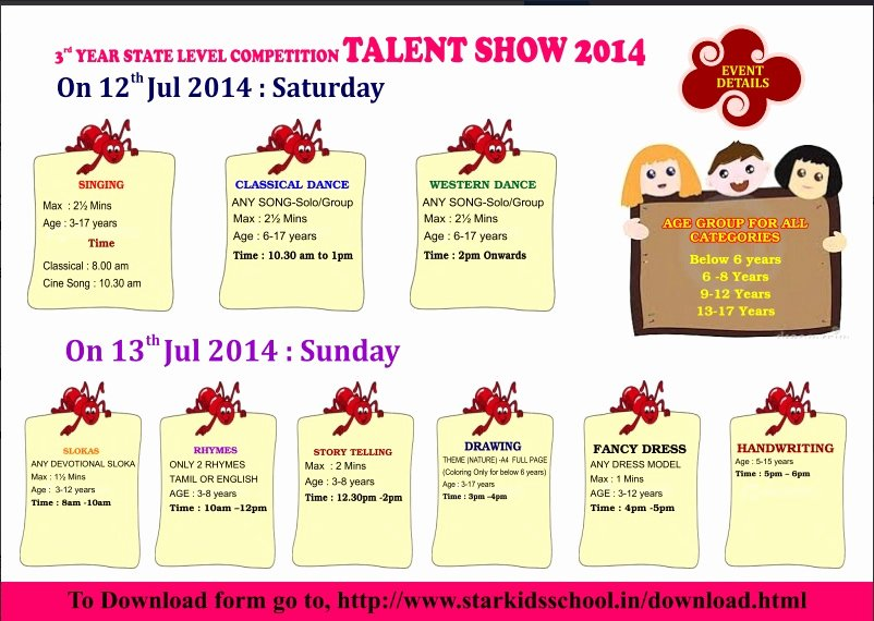 Talent Show Participation Certificate Beautiful Handwriting Contests – Kids Contests