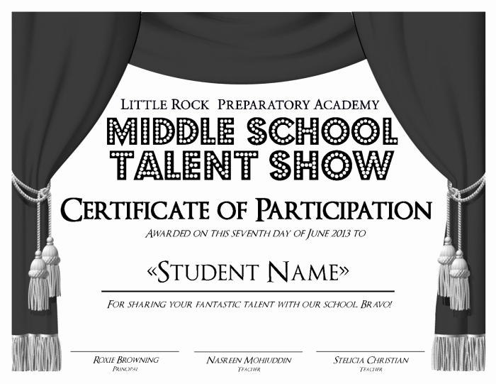 Talent Show Participation Certificate Best Of Little Rock Preparatory Academy Work by Anna Alderson at