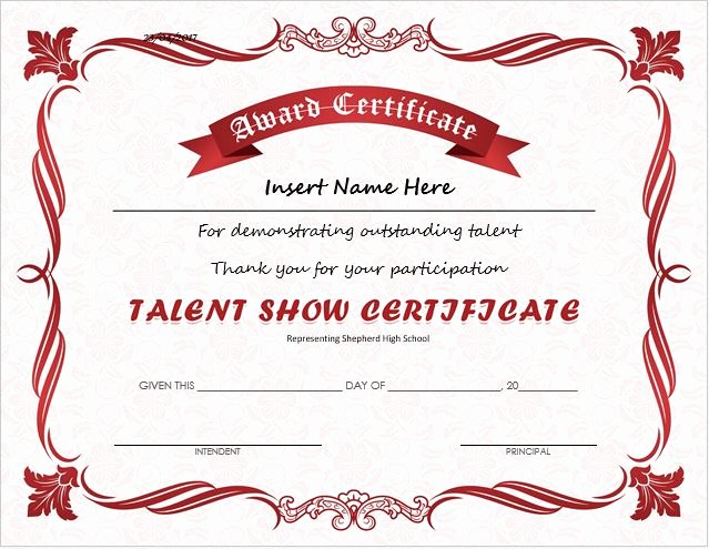 Talent Show Participation Certificate Lovely Talent Show Award Certificates for Ms Word