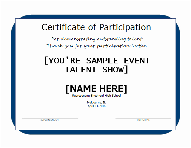 Talent Show Participation Certificates Awesome Talent Show Certificate Template for Word