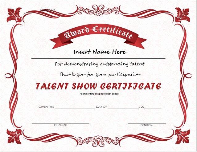 talent show award certificates