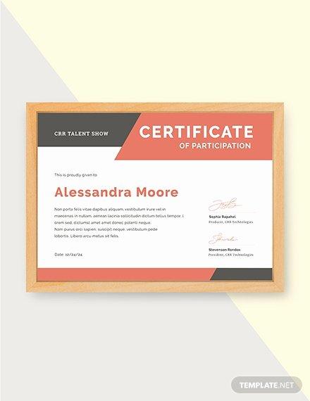 Talent Show Participation Certificates Lovely Free Blank Participation Certificate Template Download