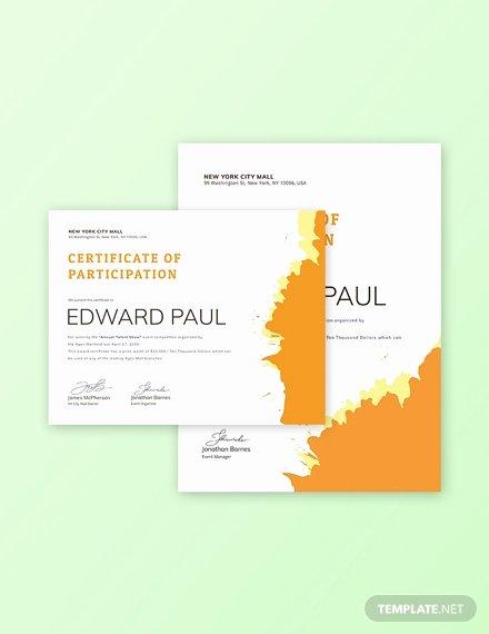 Talent Show Participation Certificates Luxury Free Graphy Participation Certificate Template