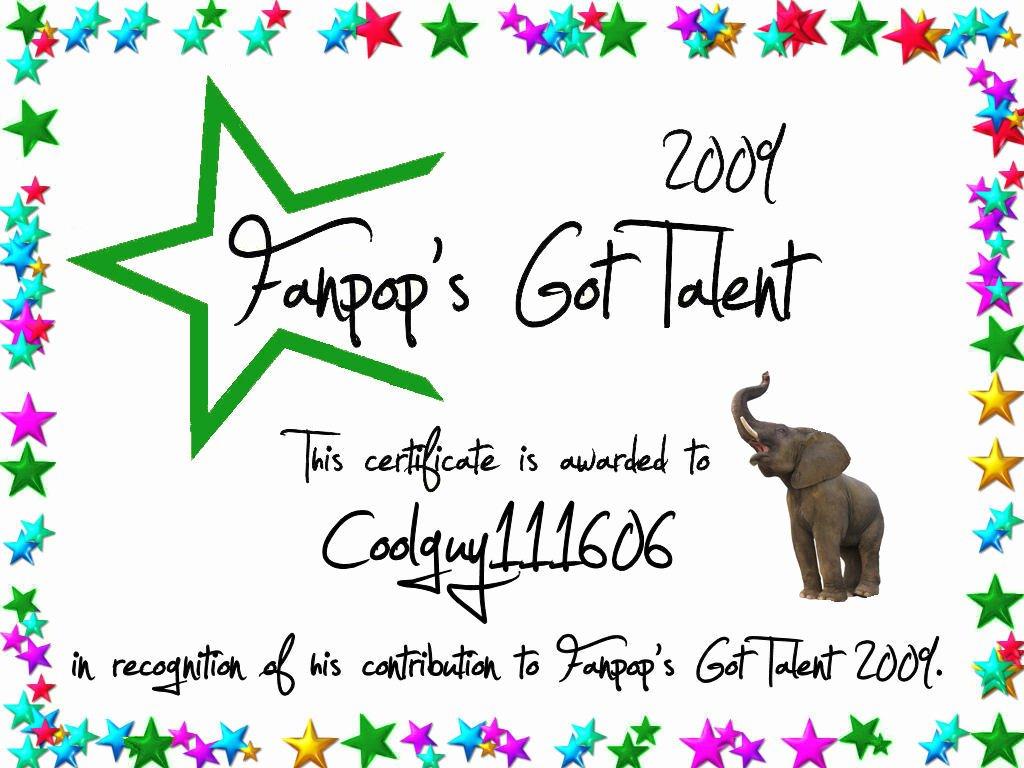 Talent Show Participation Certificates Unique Coolguy Certificate Fanpop S Got Talent
