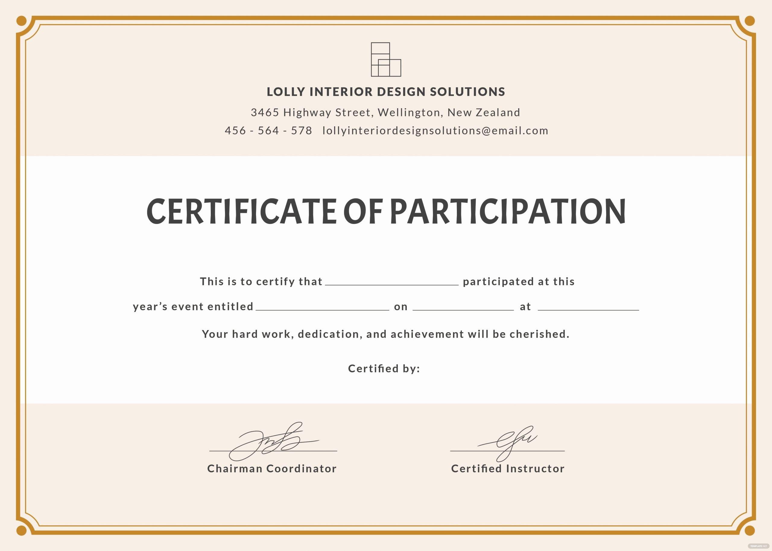 Talent Show Participation Certificates Unique Free Blank Participation Certificate Template In Psd Ms