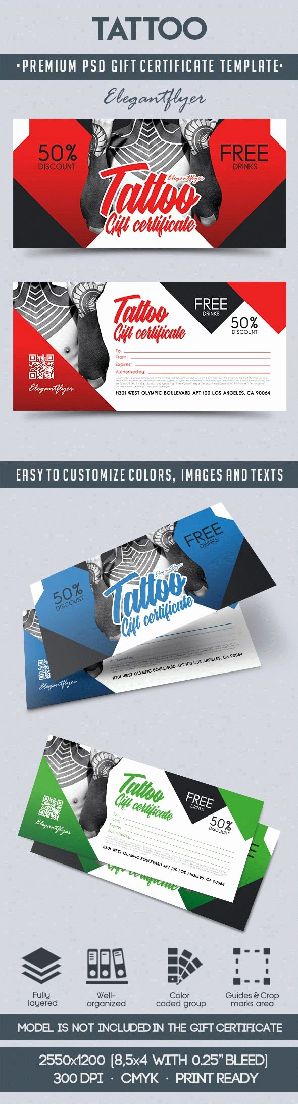 Tattoo Gift Certificate Template Awesome Tattoo Gift Voucher – by Elegantflyer