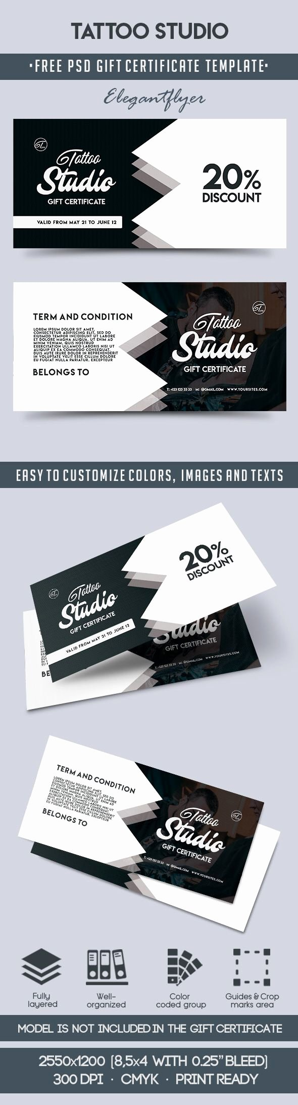 Tattoo Gift Certificate Template Awesome Tattoo Studio – Free Gift Certificate Psd Template – by