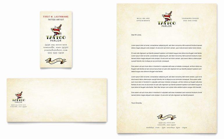 Tattoo Gift Certificate Template Elegant Body Art & Tattoo Artist Business Card & Letterhead