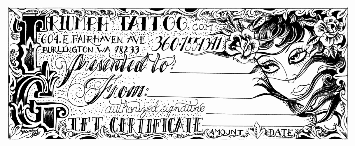 Tattoo Gift Certificate Template Free Awesome Triumph Tattoo Custom Gift Certificates Available soon