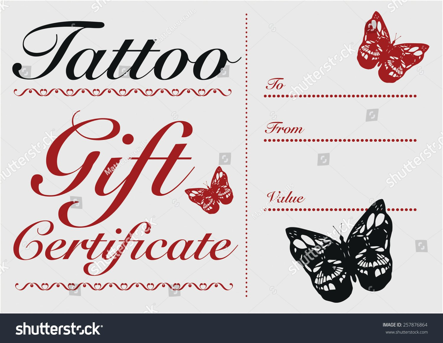 Tattoo Gift Certificate Template Free Best Of butterfly Skull Tattoo Gift Card and Gift Certificate