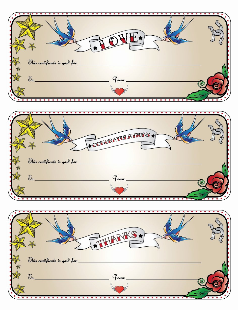Tattoo Gift Certificate Template Free Lovely Printable Gift Certificates This Certificate is Good