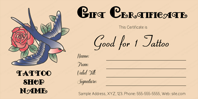 Tattoo Gift Certificate Template Free Luxury Flower Tattoo Gift Certificate Template T Certificate
