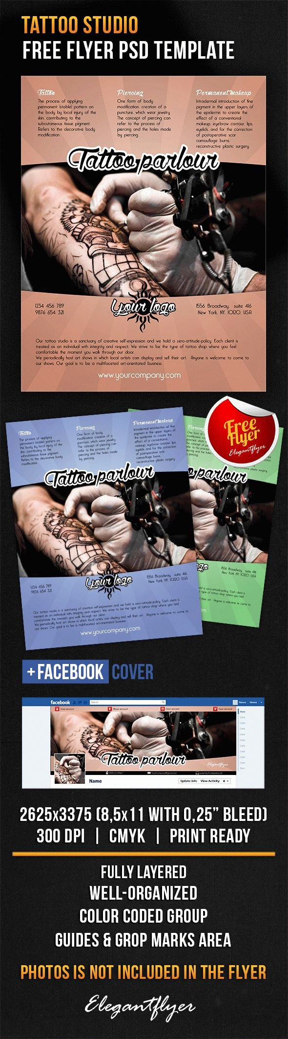 Tattoo Gift Certificate Template Free New Tattoo Studio – Free Flyer Psd Template – by Elegantflyer