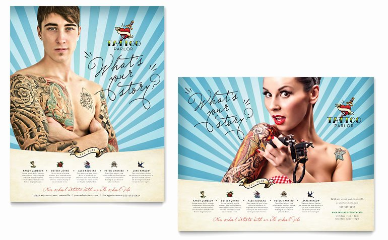 Tattoo Gift Certificate Template Free Unique Body Art & Tattoo Artist Poster Template Word & Publisher