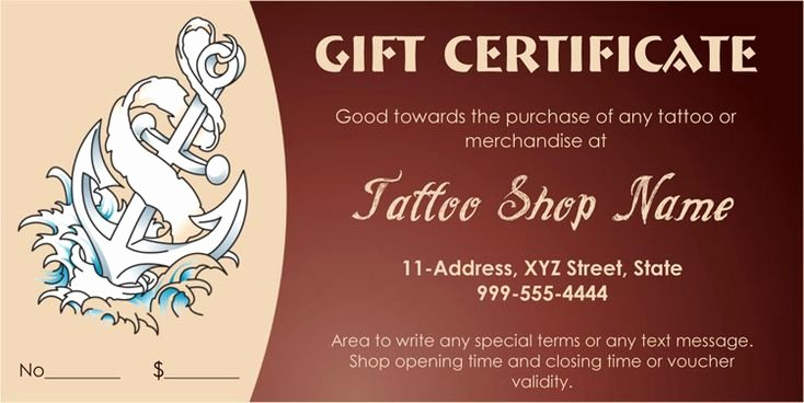 Tattoo Gift Certificate Template Free Unique Tattoo Shop Gift Certificate Template T Certificate