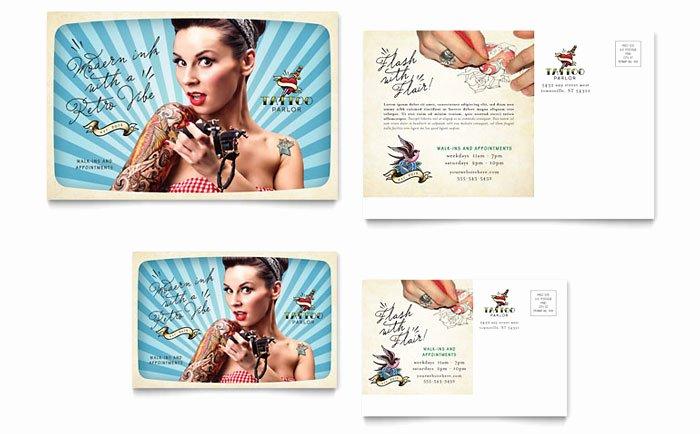 Tattoo Gift Certificate Template Luxury Body Art & Tattoo Artist Postcard Template Design