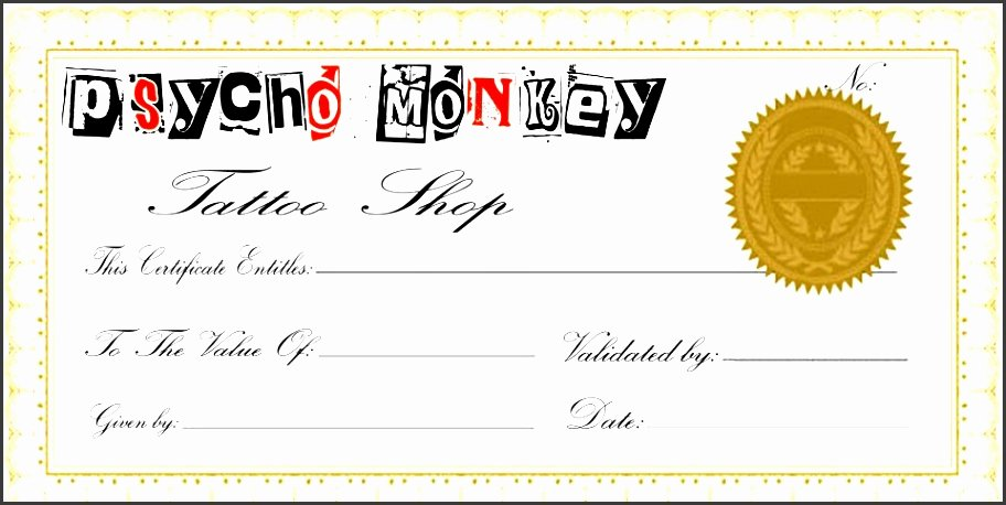 Tattoo Gift Certificate Template New 10 Gift Voucher Template Pletely Free to Download