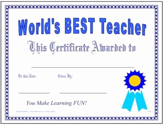 Teacher Appreciation Awards Printable Fresh Great Teacher Award Certificate Printable