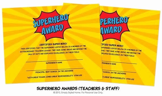 Teacher Appreciation Awards Printable Fresh Instant Superhero Awards Teacher and Staff by Simplystyledhome
