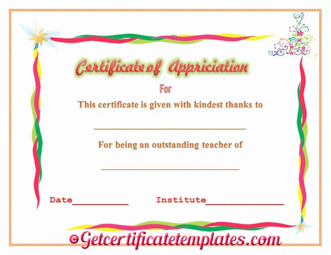 Teacher Appreciation Certificate Pdf Best Of Certificate Of Appreciation for Outstanding Teaching