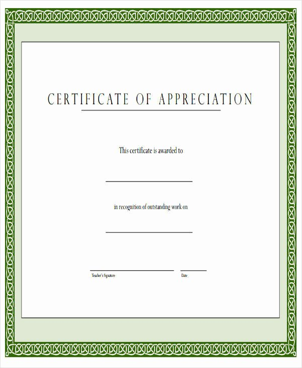 Teacher Appreciation Certificate Pdf Inspirational 23 Blank Award Certificate