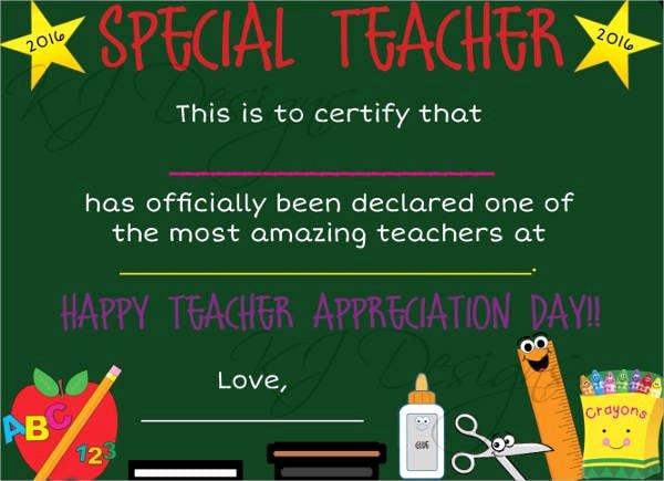 Teacher Appreciation Certificate Pdf New Free 16 Examples Of Certificate Of Appreciation In