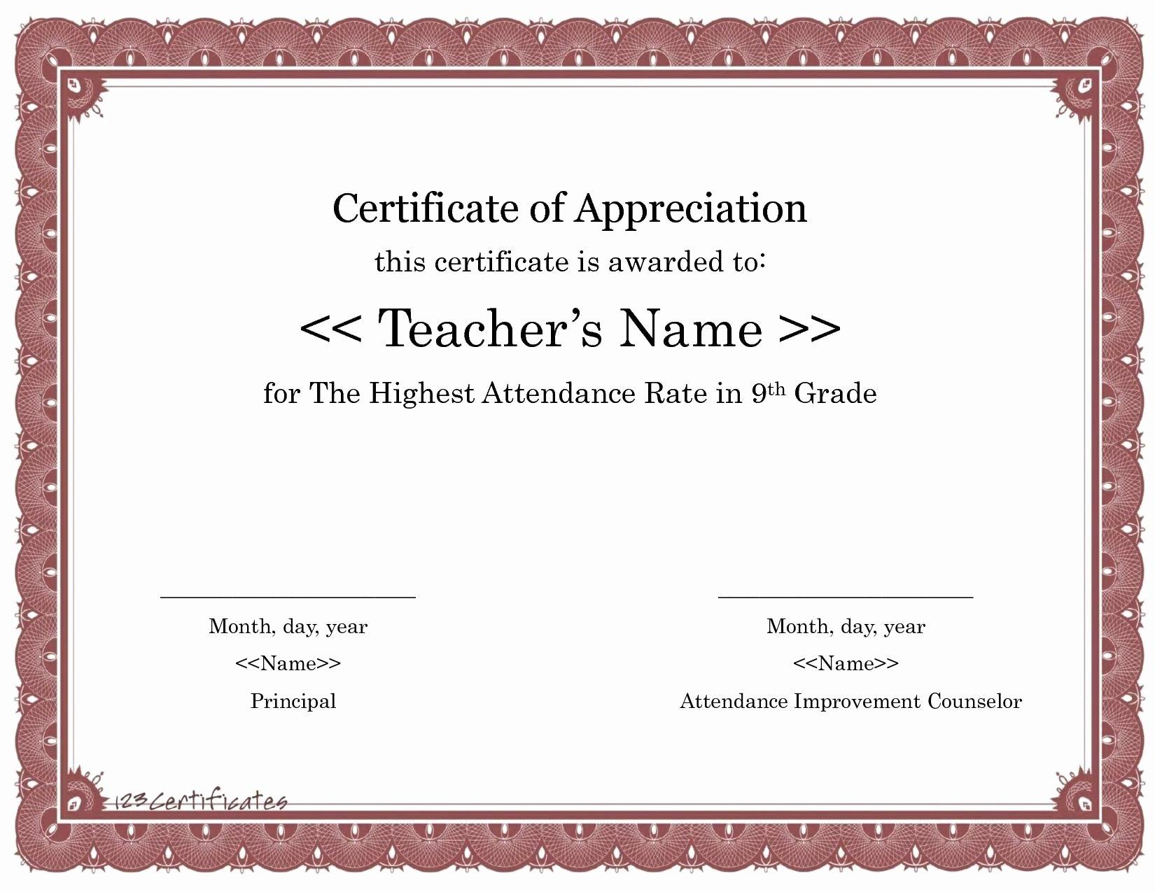 Teacher Appreciation Certificate Template Awesome 123 Certificate Appreciation