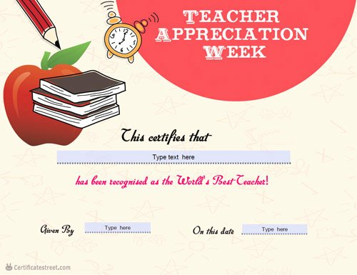 Teacher Appreciation Certificate Template Elegant Certificate Street Free Award Certificate Templates No