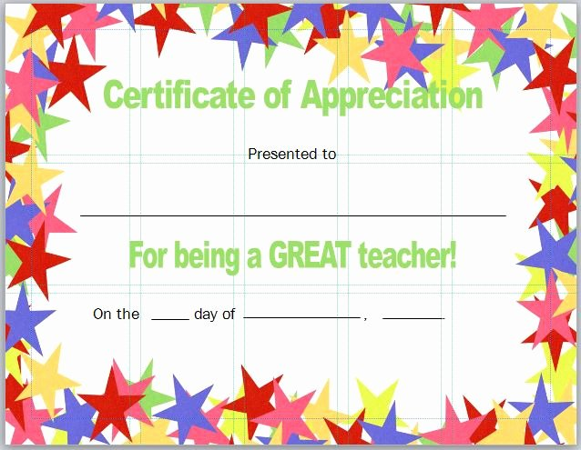 Teacher Appreciation Certificate Template Free Awesome 30 Free Certificate Of Appreciation Templates and Letters