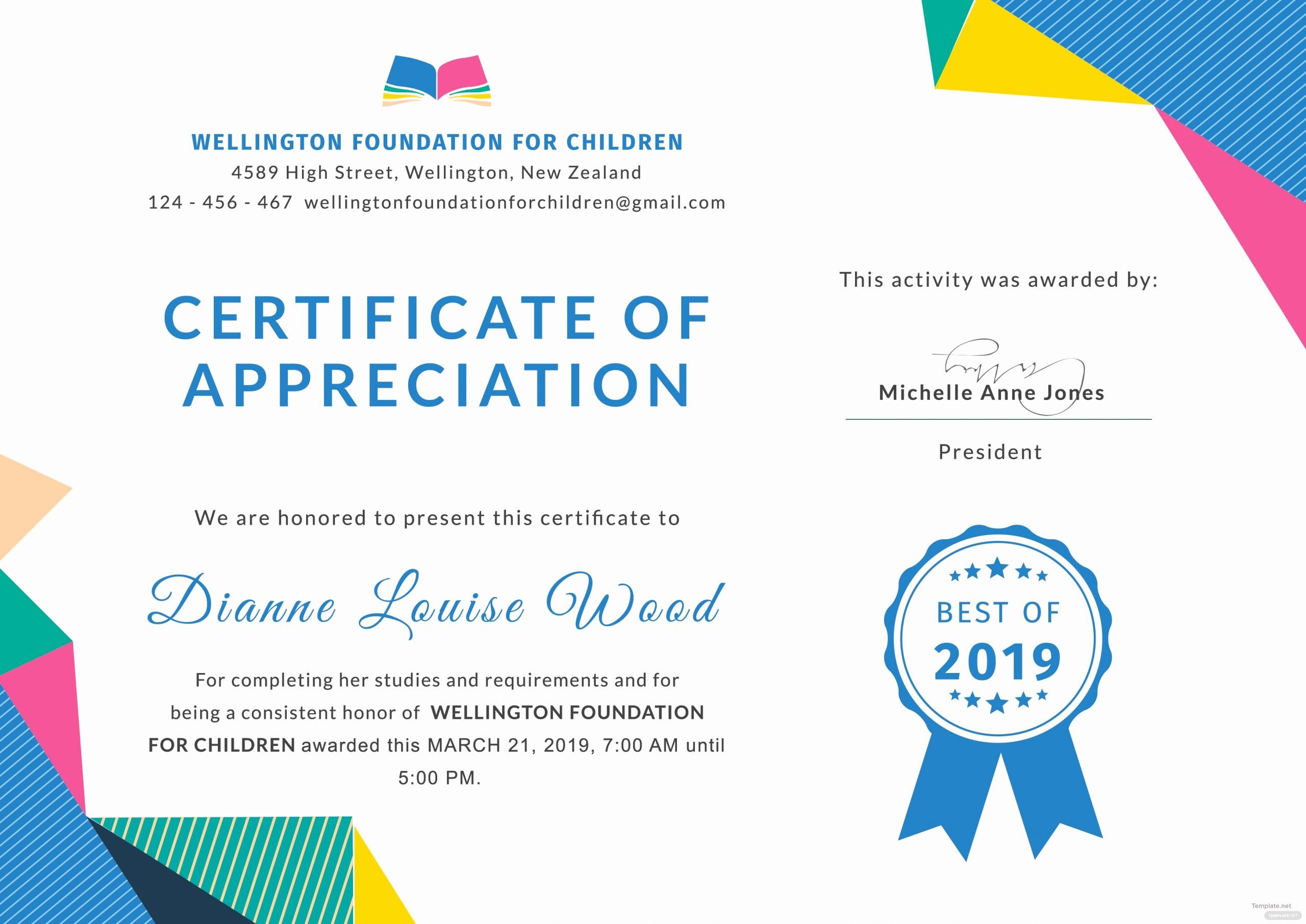 Teacher Appreciation Certificate Template Free Awesome Free Graduation Appreciation Certificate Template In Adobe