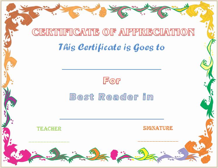 Teacher Appreciation Certificate Template Free Beautiful Certificate Of Appreciation Template for Accelerated