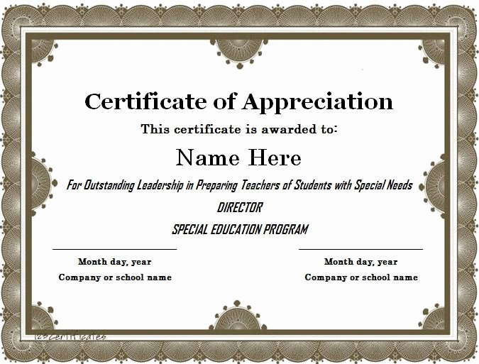 Teacher Appreciation Certificate Template Free Elegant 31 Free Certificate Of Appreciation Templates and Letters