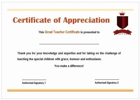 Teacher Appreciation Certificate Template Free Inspirational Certificate Recognition Sample for Teachers