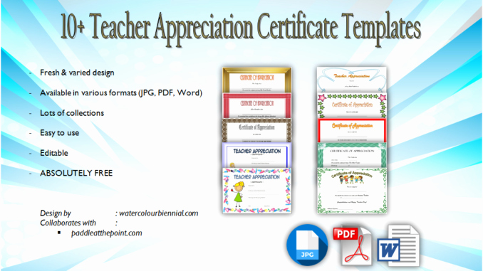 Teacher Appreciation Certificate Template Free Luxury Teacher Appreciation Certificate Free Printable 10 Designs