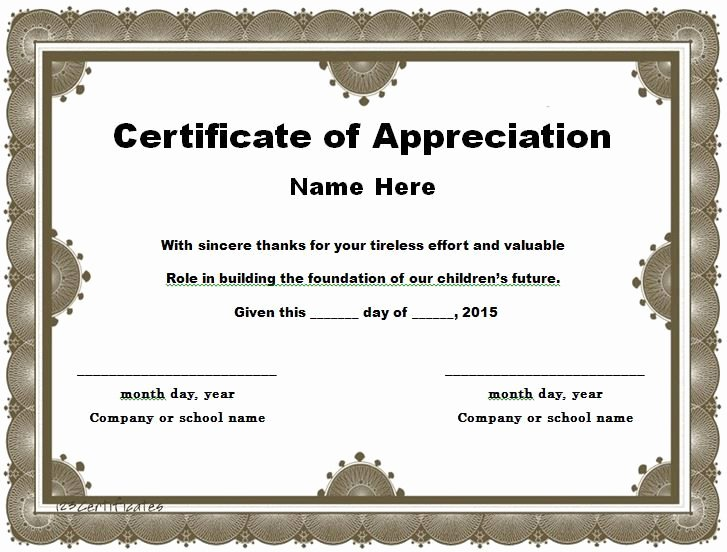 Teacher Appreciation Certificate Template Free New 30 Free Certificate Of Appreciation Templates and Letters